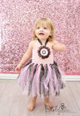 Daisy Glitter Tutu Dress Light Pink Brown