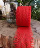 "2.5"" Red Burlap Jute Ribbon"