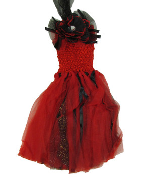 Red Black Peony Glitter Baby Tutu Dress