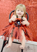 Glitter Baby Tutu Dress Red and Black with Peony Clip