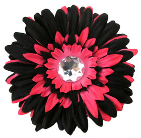 Black & Hot Pink Gerber Daisy Flower Clip