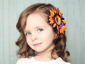 Black, Purple & Orange Gerber Daisy Flower Clip