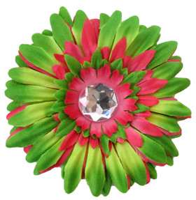 Lime Green & Hot Pink Gerber Daisy Flower Clip