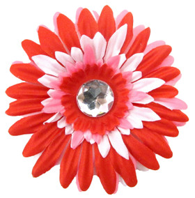 Red, White and Pink Gerber Daisy Flower Clips