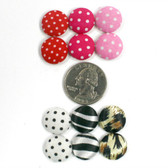 Hot Pink with White Dots Fabric Covered Centers