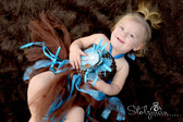 Peony Glitter Baby Tutu Dress Brown Turquoise