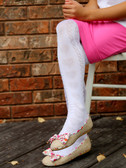 Embroidered Tights White Hearts
