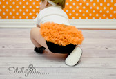 Black Cotton Diaper Cover with Orange Chiffon Ruffles
