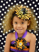 Large Flower on Crochet Headband Halloween