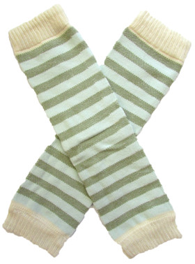 Wholesale Ivory Green Striped Leg Warmers