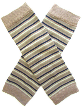 Wholesale Tan Navy Stripe Leg Warmers