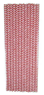 12 Red Chevron Straws