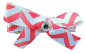 Small Red Chevron Bow Clips