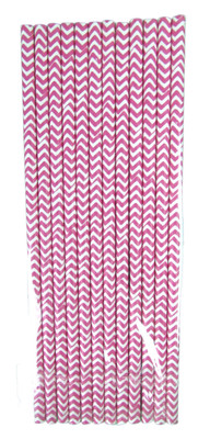 Hot Pink Chevron Straws