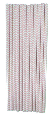 Light Pink Chevron Straws