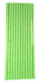 12 Lime Green Chevron Straws