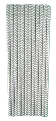 Gray Chevron Straws