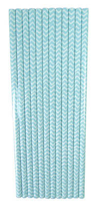 Light Blue Chevron Straws