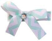 Small Aqua Chevron Bow Clips
