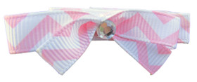 Small Light Pink Chevron Bow Clips