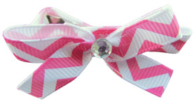 Small Hot Pink Chevron Bow Clips