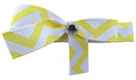 Small Yellow Chevron Bow Clips