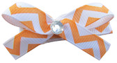 Small Orange Chevron Bow Clips