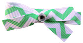 Small Green Chevron Bow Clips