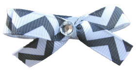 Small Gray Chevron Bow Clips
