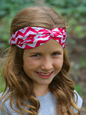 Hot Pink Chevron Turban Headbands