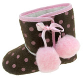 Brown with Pink Dots Baby Boots