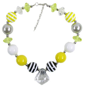 Black, Yellow & Gray Chunky Necklace with Diamond