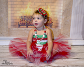Tutu Top Crochet Headband Red, White and Green