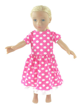 Hot Pink with White Dots Doll Dress