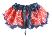 Red White Stars Navy Blue Trim Patriotic Print Pettiskirt