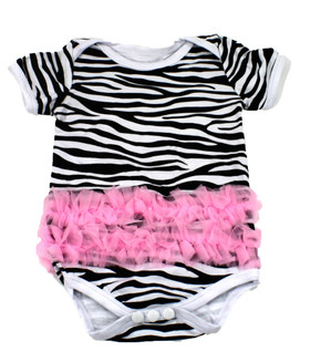 Zebra with Light Pink Ruffles Baby Body Suit