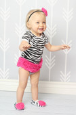 Zebra with Hot Pink Ruffles Baby Body Suit