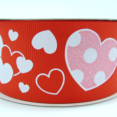 "1.5"" Grosgrain Valentine Red Bubble Hearts"