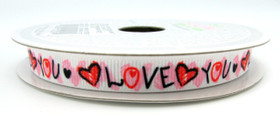 "3/8"" Grosgrain Love You Ribbon"
