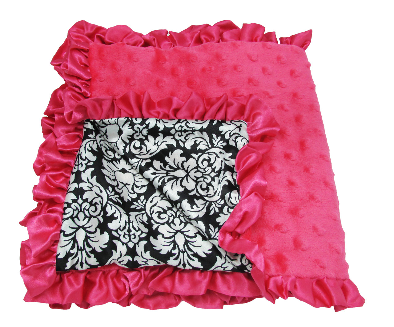 Baby Blankets Amp Accessories Hot Pink And Damask Minky
