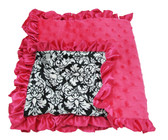 Hot Pink & Damask Minky Baby Blanket
