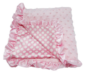 Light Pink & White Dots Minky Baby Blanket