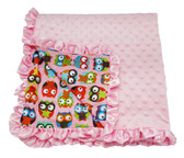 Light Pink & Owls Minky Baby Blanket