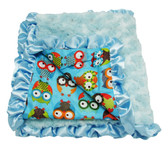 Light Blue & Owls Minky Baby Blanket