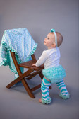 Frozen Aqua Chiffon Ruffle Bloomer Diaper Cover (other pieces sold separately)