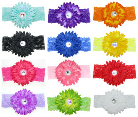 Assorted Wide Lace Headbands with Gerber Daisy Flowers