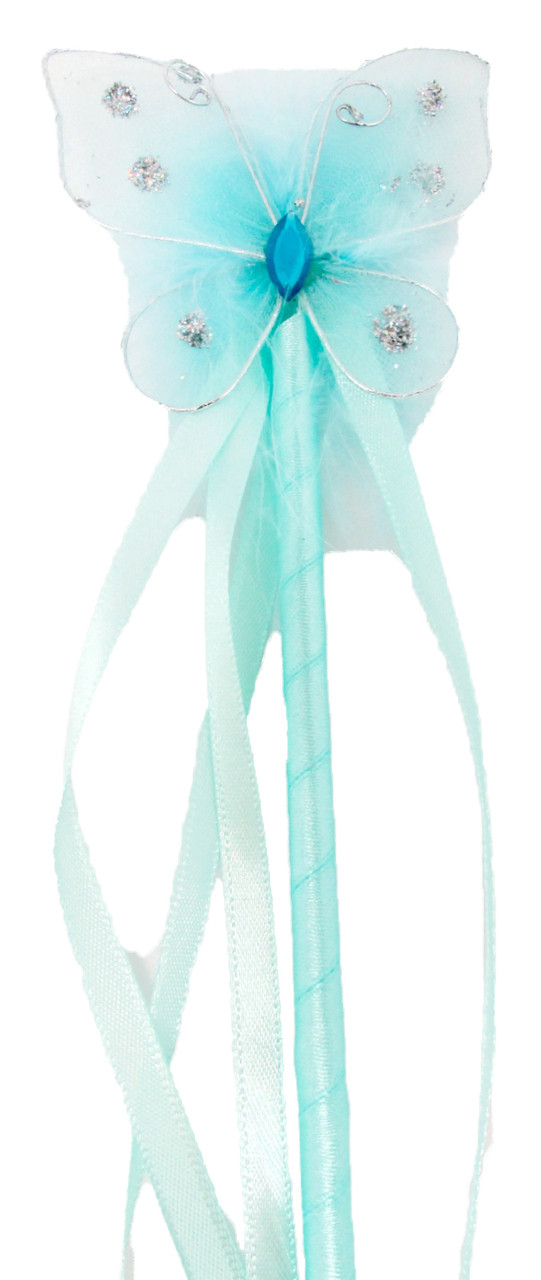 Dress up aqua butterfly fairy wands for birthday parties for Butterfly wands wholesale