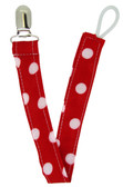 Red Polka Dot Pacifier Clip