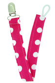 Hot Pink Polka Dot Pacifier Clip