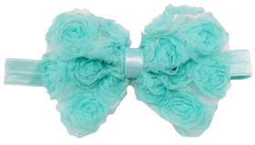 Frozen Aqua Rosette Bow On Fold Over Elastic Headband